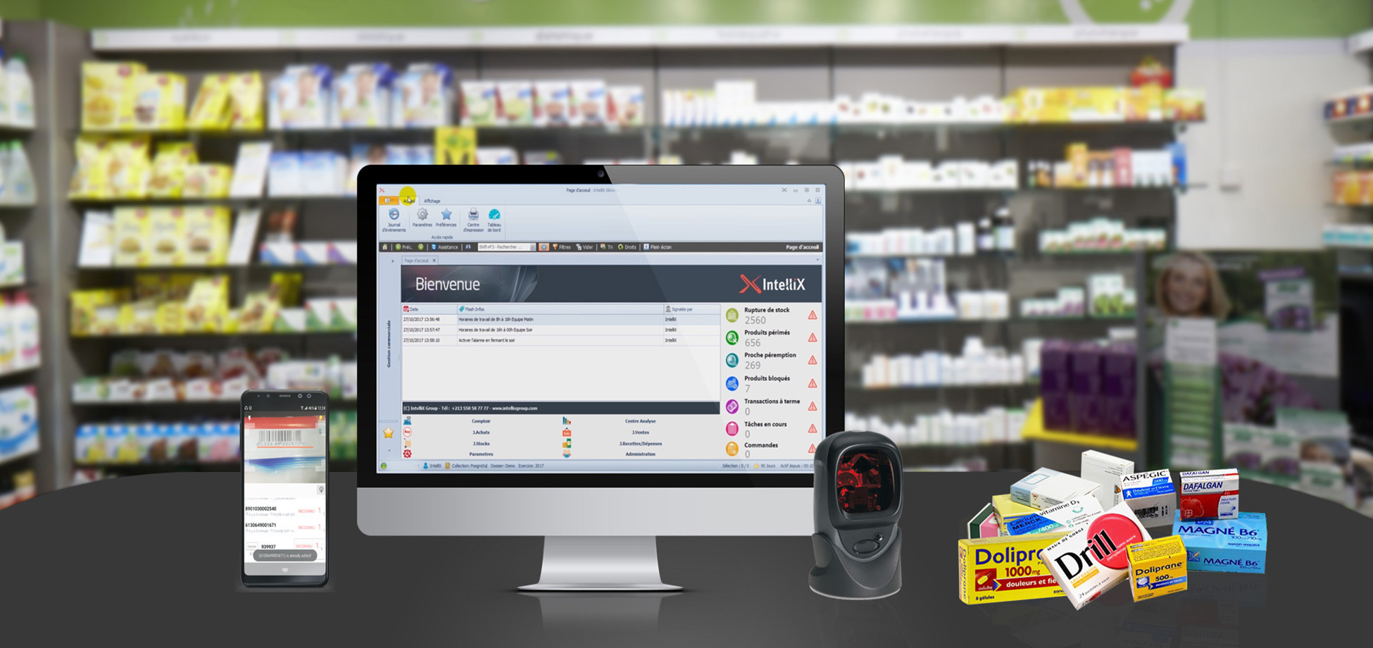 Slide Logiciel de Gestion  de Pharmacie IntelliX PharmaX Gold Edition